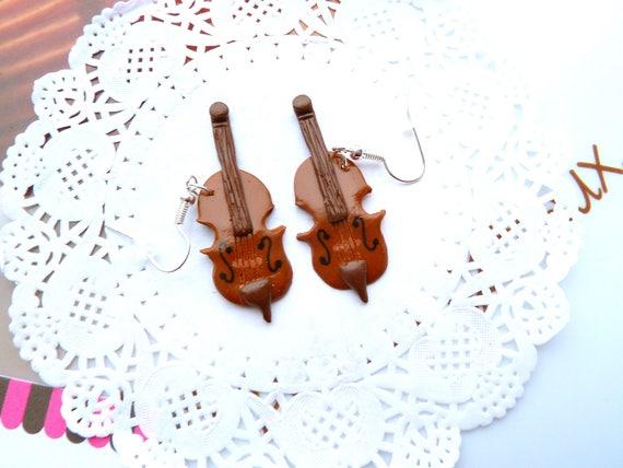 boucles musique fimo boucles violoncelles fimo boucles etsy. Black Bedroom Furniture Sets. Home Design Ideas