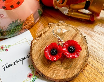 Buckle my pretty poppies, poppies, handmade poppies in polymer paste, silver supports 925