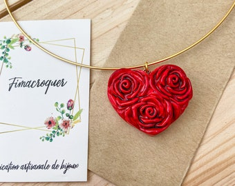 Fimo red heart necklace, love necklace, love jewel, pink flower necklace, Saint Valentine's day gift idea