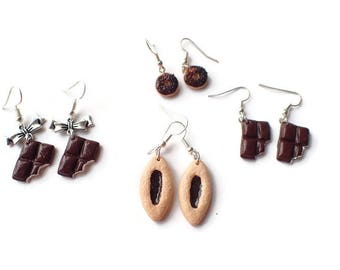 Chocolate earrings polymer clay, biscuit polymer clay, fimo, polymer clay, girl gift, foodie jewelry idea cookies yummy earrings her, polymer clay