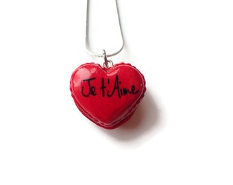 Fimo heart macaroon necklace, red macaroon keyring, personalized gift, magnet heart macaroon, heart necklace I love you, gift idea