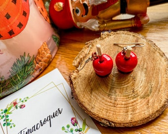 Love apple rings, fimo gourmet curls, red fimo curls, women's gift idea, girl gift idea, fimo jewelry, apple love fimo