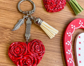 Key door heart of red roses fimo, jewel love, Keychain pink flowers, gift idea woman Saint Valentine