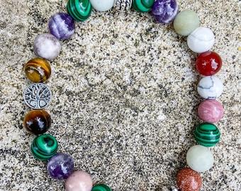 Bracelet natural stones serenity woman, unique mixed gift idea, stones virtues anti stress amethyst amazonite malachite cornaline