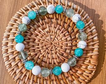 Natural stones bracelet turquoise white blue woman, gift idea handmade, Howlite