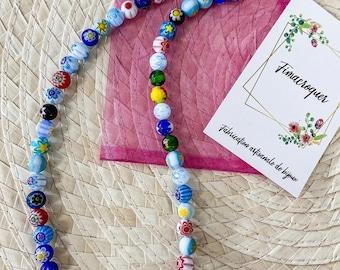 Handmade multi-coloured millefiori glass beaded necklace