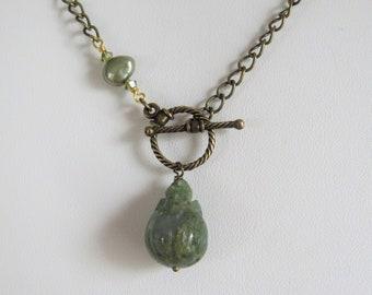 Adjustable 22 Fancy Jasper Gemstone Pendant Necklace