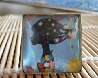 black purple watercolor 25mm,painted French artist,cabochon square glass,flat background diy crafting mercerie,boho bobo art deco