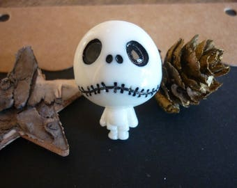 Cute white and black Gothic character ring.