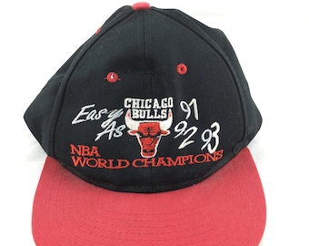 e542b9483a314d Chicago Bulls hat vintage 90s championship cap 1990s three peat 91 92 93  black red snapback embroidered nba basketball michael jordan flat