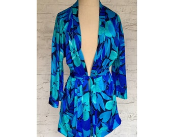 Vintage 80s Perfection Fit by Roxanne swimsuit coverup robe swim cover up blue black tropical floral flower nylon Large made in USA 1980s