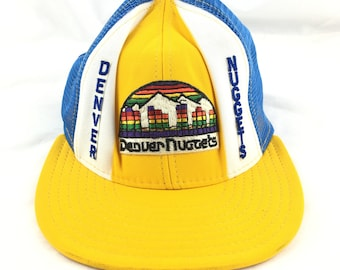 buy online 6a9b2 38258 Vintage 90s hat Denver Nuggets yellow trucker cap blue white multicolor flat  brim snapback embroidered 1990s vtg nba basketball colorado