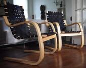 1 Available ARTEK Alvar Aalto LOUNGE CHAIR 406, Arm Armchair, Birch Bent Plywood Black Webbing, Mid-Century Modern danish knoll eames era