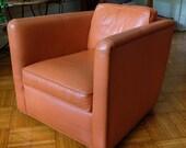 THAYER COGGIN Stockton CHAIR Lounge Arm Club Armchair, Orange Tan Leather, Swivel Base, Mid-Century Modern danish eames knoll era
