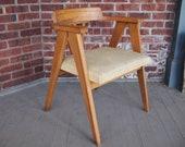 Rare Early KNOLL Captain 39 s Compass Arm Chair Armchair, Oak Vinyl, Pierre Jeanneret Sorensen Risom Allan Gould Mid-Century Modern eames era