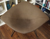 Vintage Knoll BERTOIA Wide DIAMOND CHAIR Lounge Armchair, Black Metal Wire w Brown Wool Cover, Mid-Century Modern eames era