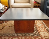 Vintage FOUNDERS Jack Cartwright SLATE Coffee Side TABLE, 32 quot Square 16 quot H, Gray Walnut Mid-Century Modern Baughman danish knoll eames era