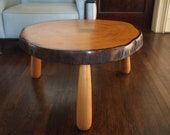Vintage Rustic LIVE-EDGE Round Side TABLE, 28 quot Diameter, Tree Trunk Slice Slab Solid Maple Wood Mid-Century Modern eames knoll era