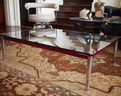 CASSINA Le Corbusier Low COFFEE TABLE, 31x47 quot Glass Top, 13 quot H, Red Frame Chrome Legs, Mid-Century Modern danish knoll eames era noguchi
