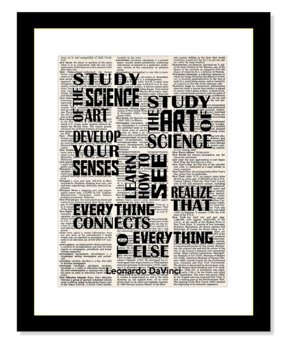 Leonardo Davinci Quote Study The Art Of Science Study The Etsy
