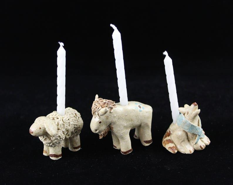 Western Animal Birthday Candle Holders Sheep Buffalo
