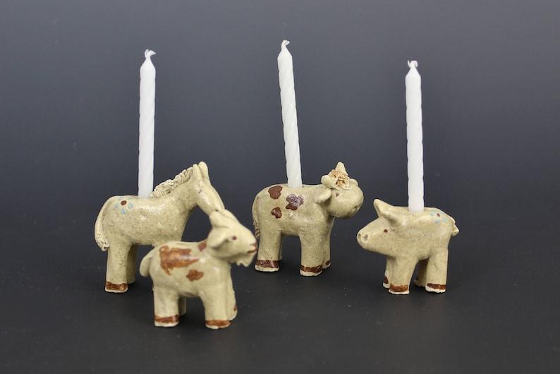 Farm Animal Birthday Candle Holders Donkey Goat Cow Pig