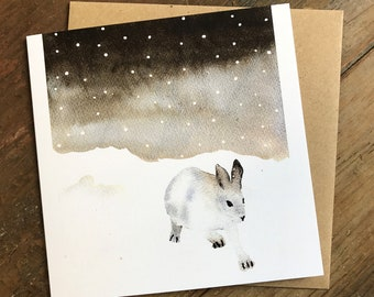 Pack of 10 Snow Hare Christmas cards, watercolour, greetings, boxed set, handmade, Japanese hare, snow , art cards, Winter, hand painted