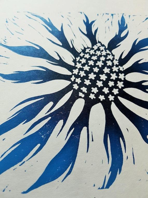 woodcut Sea Holly Lino print blue artwork woodblock print wall art