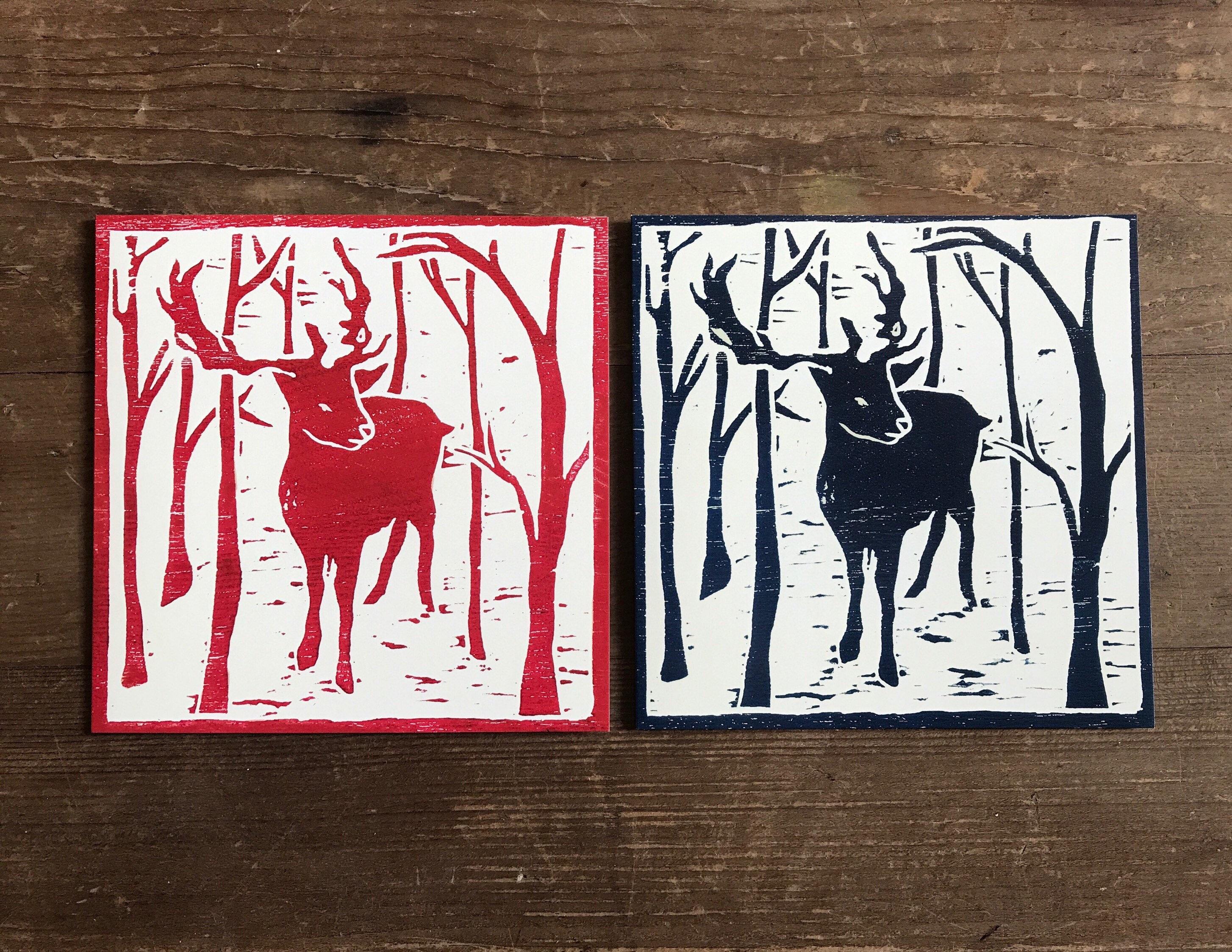 Reindeer Woodcut