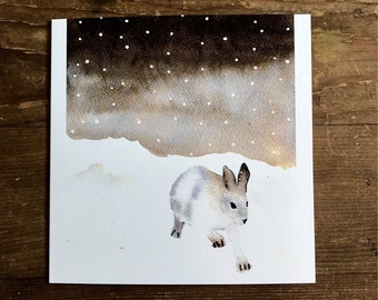 Set of Christmas cards, Snow Hare, watercolour Christmas cards, winter scene, hand painted, pack of handmade cards, artist card, rabbit