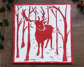 10 Red reindeer Christmas cards, woodblock print, woodcut, greetings card, set of cards, pack of cards, printmaking, handmade Christmas