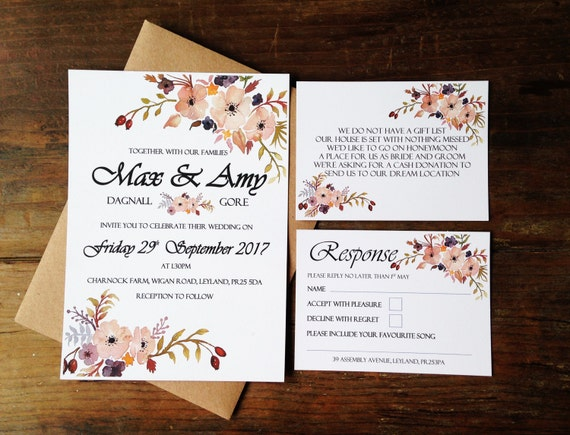 06d10a4930ab Floral Wedding Invitation invites flowers wedding
