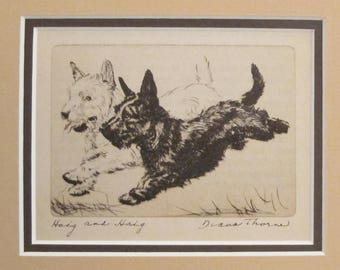 "1936 Matted Dog Print, Diana Thorne ""Haig and Haig"" Terrier Dog Etchings - Puppy art, Dog Wall Art, Vintage Dog Lover Gift"