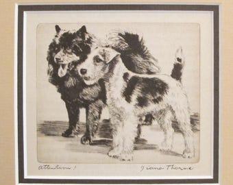"1936 Matted Dog Print, Diana Thorne ""Attention!"" Dog Etchings - Puppy art, Dog Wall Art, Vintage Dog Lover Gift"