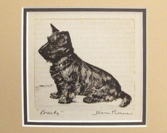 "1936 Matted Dog Print, Diana Thorne ""Brecky"" Scottish Terrier Dog Etchings - Puppy art, Dog Wall Art, Vintage Dog Lover Gift"