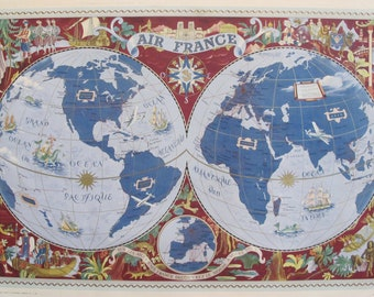 Vintage World Map Wall Art Etsy - Old world map wall art in blue