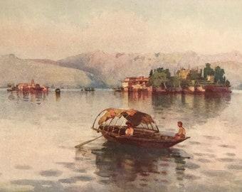 1905 Original Italian Print Italian prints by Ella du Cane Italian Travel Colour Plate Vintage Wall Art Limonta Lago di Como