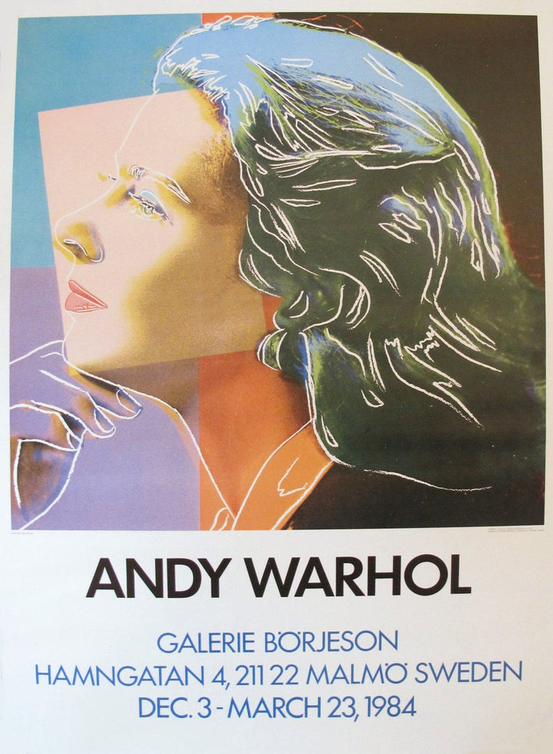 1984 Andy Warhol Exhibition Poster Ingrid Bergman Movie | Etsy