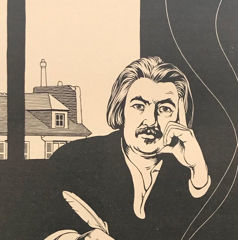Art Deco Art Man cave Art 1920 Vintage American Shoe Ad Matted Black and White Art Illustration Honor\u00e9 de Balzac Ready to Frame