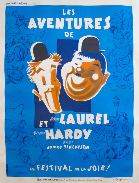1946 Laurel And Hardy Movie Poster Vintage French Film Poster Movie Print Vintage Movie Poster Oversized Wall Art