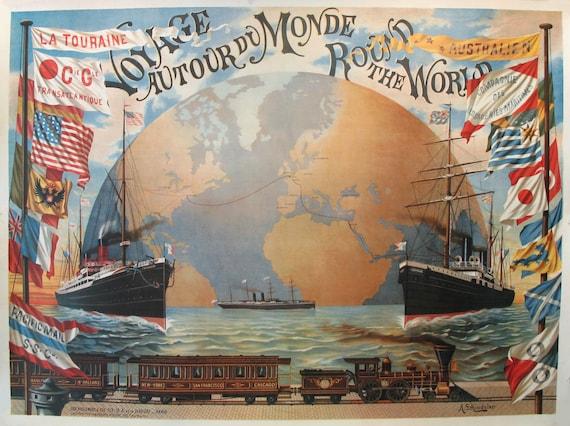 1980s french vintage world map large vintage art nouveau etsy gumiabroncs Gallery