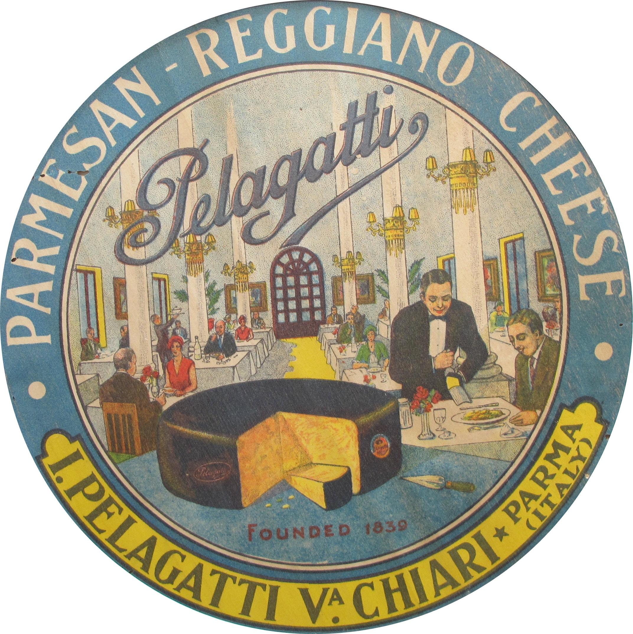 1930er Jahre italienisches Essen Poster runde Käse Etiketten