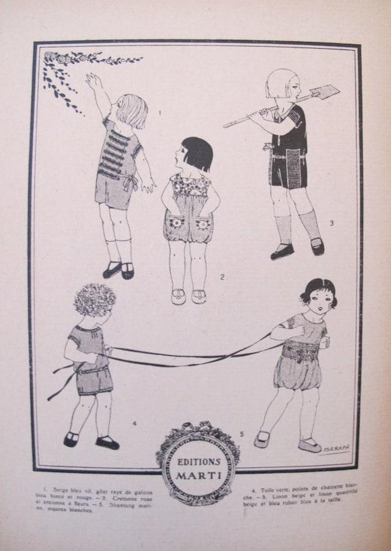 los niños Vintage francés de 1920 de moda patrones para   Etsy