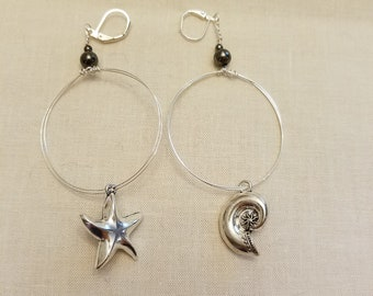 Silver drop circle earrings with coordinating beach themed charms