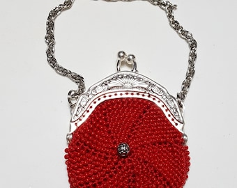 coin purse Windmill mini handmade purse doll purse bead knit child/'s purse with silver frame and chain