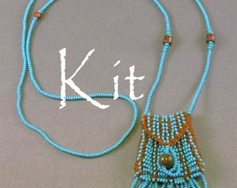 Brigitte Kit, a beaded knit necklace purse (turquoise beads/tan thread)