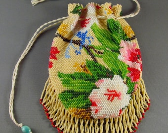 """The """"Peggy"""" purse, bead knit, flowered and fringed drawstring style"""