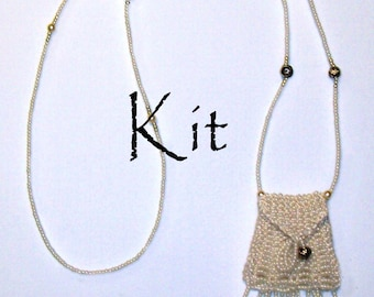Brigitte Kit, a beaded knit necklace purse amulet bag in Ivory