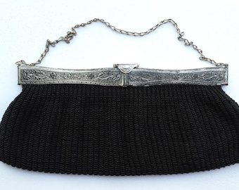 Vintage Replica Black Square-Top Frame Beaded Purse with Antique Frame