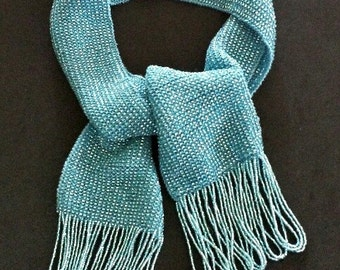 Beaded Knit Scarf of 20,000 Beads in turquoise